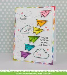 Lawn Fawn Intro: Plane and Simple, Stitched Trails - Lawn Fawn Creative Birthday Cards, Handmade Birthday Cards, Creative Cards, Bullet Journal Ideas Pages, Bullet Journal Inspiration, Cute Cards, Diy Cards, Birthday Card Drawing, Lawn Fawn Stamps