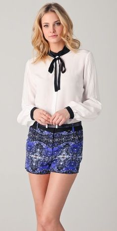 Black & white blouse + printed shorts