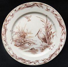 BROWN AESTHETIC TRANSFERWARE PLATE ~ WATER BIRDS 1879