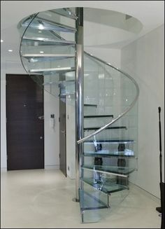 Superior Decoration, Connecting Lower Floor With Attic Area With Glass Spiral  Staircase Design Is Great Ideas