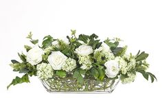 Rose Hydrangea, Cream Green, Glass trough WF487