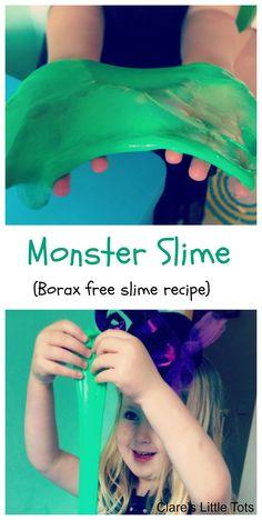 monster slime borax free slime using aldi washing gel and ova glue. Fun Halloween sensory play.
