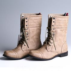 British Style Thick Heel Lace Up Round Toe Martin Boots