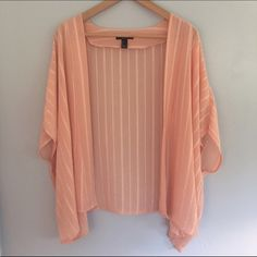 Forever 21 Pink Kimono Beautiful pastel pink colored kimono with a stitched pattern. Only worn once, in perfect condition. Forever 21 Tops