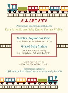 Baby Train Baby Shower Invite