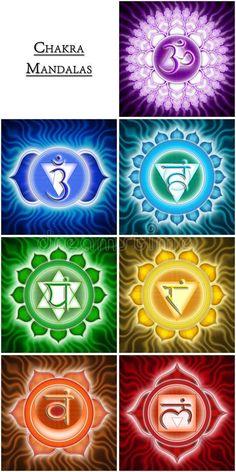 Illustration about Illustration of Chakra Mandala Symbols. Illustration of sahasrara, prana, indian - 22089675 Mandala Art, Mandala Design, Mandala Painting, Arte Chakra, Chakra Tattoo, Chakra Art, Meditation Art, Yoga Art, Chakra Symbole