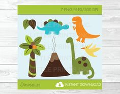 Dinosaur Clipart INSTANT DOWNLOAD by LittlePrintsParties on Etsy, $5.00