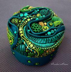 Neptunes Garden Mosaic Trinket Box Polymer Clay by MandarinMoon, $75.00