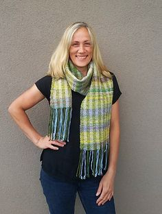 Handwoven Shawl - Art yarn scarf - Handspun wool silk yarn - Multicoloured - Unisex - Scarve