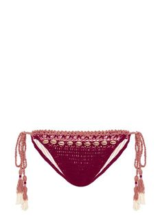 She Made Me Mihira embellished tie-side crochet bikini briefs