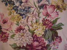 Vintage Barkcloth Era - Floral Curtain Panel
