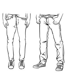 Hand drawn fashion Collection of men's jeans. (EPS, Vector, JPG) – Men's style, accessories, mens fashion trends 2020 Jeans Drawing, Suit Drawing, Body Drawing, Drawing Clothes, Drawing Of Shoes, Drawing Stuff, Hand Reference, Drawing Reference Poses, Drawing Tips