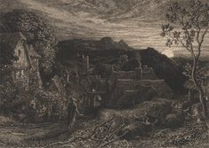Samuel Palmer The Bellman 1879 etching and drypoint English Romantic, Google Art Project, English Artists, Park, Art Google, Art Images, Landscape Paintings, City Photo, Art Gallery