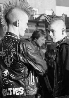 punk mohawk studs leather piercings