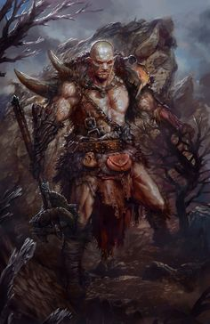 Titan by PabloFernandezArtwrk Myriads of Dragons fighter barbarian axe leather armor clothes clothing fashion player character npc | Create your own roleplaying game material w/ RPG Bard: www.rpgbard.com | Writing inspiration for Dungeons and Dragons DND D&D Pathfinder PFRPG Warhammer 40k Star Wars Shadowrun Call of Cthulhu Lord of the Rings LoTR + d20 fantasy science fiction scifi horror design | Not Trusty Sword art: click artwork for source