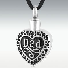 Dearest Dad Stainless Steel Cremation Jewelry - Engravable