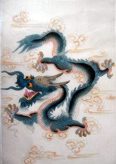 Feng Shui Chinese Blue Dragon Silk Painting Snake, Animals, Animales, Animaux, A Snake, Animal, Snakes, Dieren, Animais