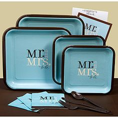 Use these adorable Mr. and Mrs. To Be wedding shower supplies for your bridal or couple's shower.