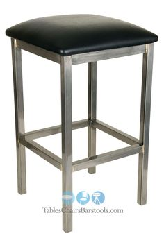 Available with your choice of a black, brown, tan, or wine colored vinyl seat, this square backless bar stool has a large, roomy seat for great comfort!  The 16-gauge steel frame has a clear powder coat finish that offers a modern industrial vibe for your bar or restaurant.  Backless bar stools promote an open, airy, more social environment at your bar, and this GLADIATOR will be sure to stand up to the nightly rigors of any urban bar scene.   The frame includes a limited lifetime warranty