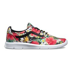 The Digi Aloha Iso a low top lace-up silhouette with minimal structure,  features textile uppers with a tropical floral print and the iconic Vans  sidestripe, ...