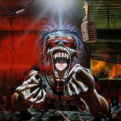 Heavy Metal and Gothic Art - Iron Maiden Album Cover Art Wallpapers - Eddie the Head : Iron Maiden Devil Gothic Skull Eddie Wallpaper 5 Heavy Metal Bands, Heavy Metal Rock, Iron Maiden Album Covers, Iron Maiden Albums, Bruce Dickinson, Karaoke, Music Metal, Rock Music, Rock N Roll