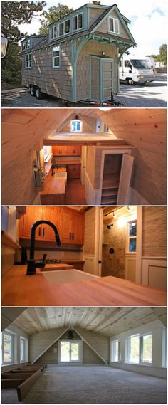 Tranquil Two Bedroom Tiny House from California Builders - Molecule Tiny Homes from Santa Cruz, California design and build gorgeous and unique tiny homes that pack a ton of charm and character in a small footprint. This particular home is a two-bedroom home featuring cedar shake siding with robin's-egg blue accents and tons of architectural appeal added in and it retails for $75,000.