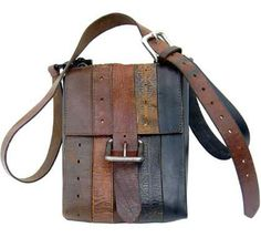 Eco Centric sells this handsome camera-bag made from discarded/recycled leather belts. Link (via Shiny Shiny) Leather Camera Bag, Leather Belt Bag, Tooled Leather, Sacs Design, Diy Handbag, Recycled Leather, Leather Craft, Leather Projects, Clutch