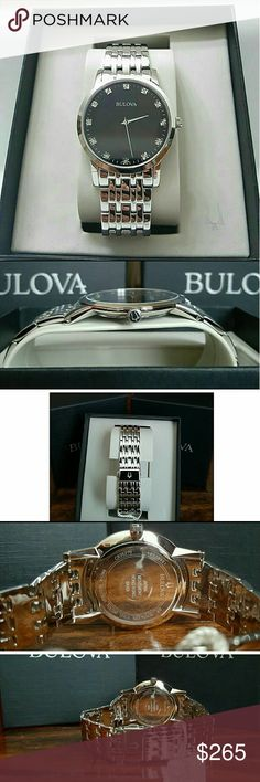 Big sale,Bulova Diamond-Accented watch Big SALE (FIRM PRICE)   Brand NWT Bulova Men's Diamond-Accented Stainless Steel Watch.  Firm price firm price firm price firm price firm price  $299.00 . AUTHENTIC WATCH  . AUTHENTIC BOX  . AUTHENTIC MANUAL  . AUTHENTIC DIAMOND CERTIFICATE CARD    SHIPPING  PLEASE ALLOW FEW BUSINESS DAYS FOR ME TO SHIPPED IT OFF.I HAVE TO GET IT FROM MY STORE.    THANK YOU FOR YOUR UNDERSTANDING Bulova Accessories Watches