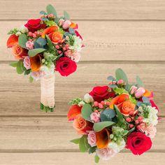 Bright Wedding Colors, Orange Wedding Flowers, Prom Flowers, Bright Flowers, Floral Wedding, Boquette Wedding, Summer Wedding Bouquets, Sedona Wedding, Bridal Bouquets
