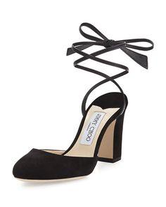 JIMMY CHOO Lucia Suede 85Mm Ankle-Wrap Sandal. #jimmychoo #shoes #sandals