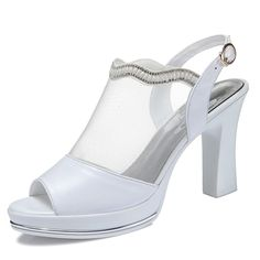 Oudy Women's Mesh Peep Toe Chunky Heels Sandals Platform Slingback PU Leather Pumps ** See this great product.