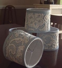 This is a custom order for Sheila that consists of 4 chandelier mini drum shades covered first in a beautiful blue fabric with an overlay of an off white lace. If you would like a custom shade or shades made just contact me. Custom Shades, Drum Shade, Blue Fabric, White Lace, Overlays, Mini, Etsy, Home Decor, Screens