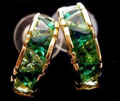 Sterling Silver Lab Created Emerald Peridot Half Hoop Pierced Earrings Vintage | eBay