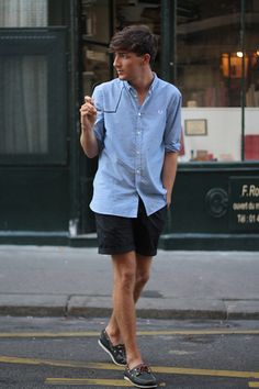 my ideal summer look in the city: boat shoes (sockless, of course), short shorts and chambray shirt and wayfarer.
