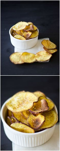 Homemade Baked Sweet Potato Chips topped with sea salt make the perfect snack for your summer get-togethers! Crisp, and much healthier than store-bought chips!