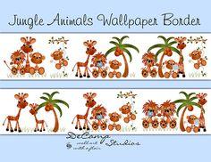 JUNGLE ANIMALS WALLPAPER wall art border decals for baby boy zoo nursery or children's safari room decor #decampstudios