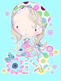 All about surface pattern ,textiles and graphics: summer girls Textile Patterns, Textiles, Gif Animé, Illustration Girl, Cute Images, Surface Pattern, Cute Drawings, Cute Art, Art Girl