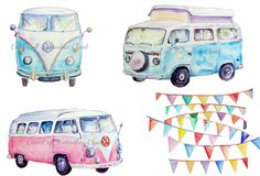 Hey, I found this really awesome Etsy listing at https://www.etsy.com/listing/195846230/digital-watercolour-vw-camper-blue-and