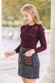 SWEATER bow sleeve sweaterc/o   SKIRT tweed skirtc/o   WATCH ted baker elana watchc/o   EARRINGS pearl studs   SHOES suede pumps When it comes to creating a classic, timeless ensemble, it's all in the details. From satin bows (dreamiest sweater ever, am I right?) to tweed pockets, to elegant…