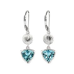 Elixir Collection; Sterling Silver Swiss Blue Topaz Lever Back Earrings