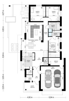 Projekt domu Wąski on Behance 2bhk House Plan, House Layout Plans, House Plans One Story, Dream House Plans, House Layouts, House Floor Plans, Small Modern House Plans, Narrow House Plans, Simple House Design