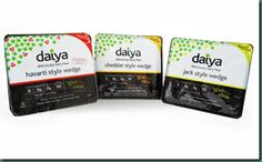 Daiya wedges - Cheddar, jack and jalepeno garlic havarti - starting to roll out to stores in April.why are you teasing me Daiya? Lactose Free Options, Dairy Free Recipes, Vegan Recipes, Gluten Free, Best Vegan Cheese, Daiya Cheese, Cheese Wedge, My Dairy, Vegan Soup