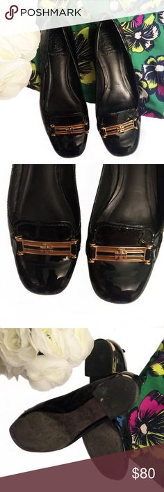 // T o r y B u r c h • F l a t s • Sz 7.5 // Tory Burch black patent leather shoes with a beautiful gold heel and gold accents Sz 7.5. Light scuff marks and wear on the bottom of shoes but still in great shape! Tory Burch Shoes