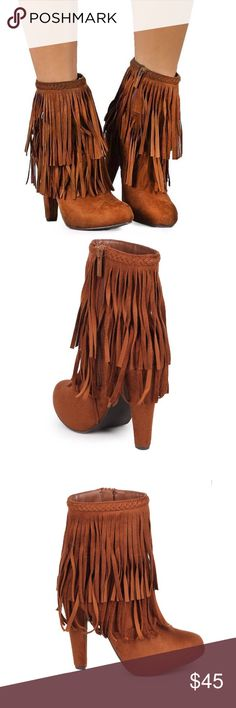 "CARMEL STILETTO FRINGE BOOTIES Step out in STYLE!! Gorgeous stiletto 5"" booties with two layers of fringe. This color is neutral and goes with so much. These will pair great with any chunky sweater or a flowing top. Go edgy with a fringed vest. You decide. Man made material. No box. -No trades. PRICE FIRM UNLESS BUNDLED. 51twenty Shoes Ankle Boots & Booties"