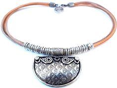 leather necklace corona inca by inatanka on Etsy