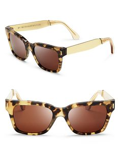 Super America Wayfarer Sunglasses With Gold Sides | Bloomingdale's