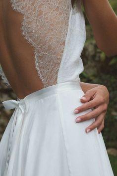 robe mariage civil hiver dos en dentelle, robe de mariage blanche mi-longue