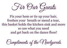 Wedding Bathroom Basket Sign Template