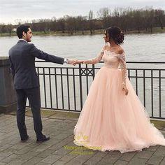 Off the shoulder Long Sleeves Pink Long Prom Dress Wedding Dress