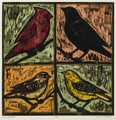 "Four Bird Square,  16"" x 16"" color woodcut by Kent Ambler"